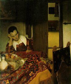 Vermeer, Jan A Woman Asleep c. 1657 Oil on canvas 34 1/2 x 30 1/8 in. (87.6 x 76.5 cm) Metropolitan Museum of Art, New York