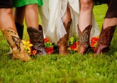 Bridal party in boots! See more of this country wedding trend >> http://www.greatamericancountry.com/living/lifestyles/country-weddings-brides-in-boots-pictures?soc=pinterest