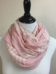 Striped Beach Scarf - Pink and White