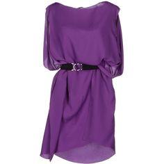 NEW YORK INDUSTRIE Short dress ($161) ❤ liked on Polyvore featuring dresses, vestidos, purple, robe, purple mini dress, sleeveless dress, short purple dresses, no sleeve dress and sleeveless cocktail dress