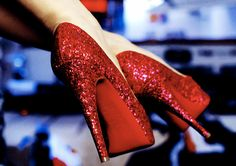 Ruby red heels. Serving Dorothy Gale realness.