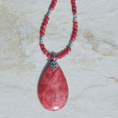 Handmade Rhodochrosite pendant necklace, sterling silver pendant necklace, semi precious argentina rhodochrosite necklace, pink necklace by KarmaKittyJewelry on Etsy