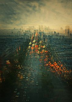 Multiple exposures of the Same image.     Paris by Stephanie Jung, via Behance