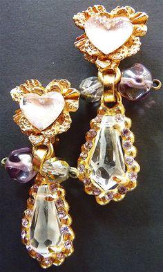 Christian Lacroix Boucles d'oreilles vintage, clips d'oreilles C Lacroix coeur, pendants d'oreilles, rose et mauve, envoi gratuit