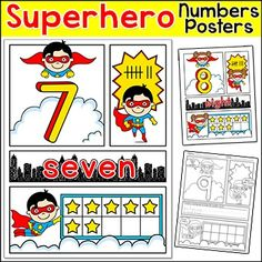 Superhero Theme Number Posters: Your students will be superheroes when they practice their numbers from 1 to 30 with these fun posters and activity sheets! The exciting comic book style will grab your students attention and the fun superhero characters will inspire them to keep practicing.