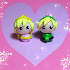 Kawaii Link y Zelda Polymer Clay Chibi encantos por PixieAddictions