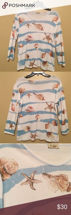 Ocean type boutique ordered amazing looking shirt Absolutely a gorgeous shirt-the pics aren't even close to the beauty of it. Seriously. For spring/summer wear, purchased from a specialty store. Doesn't say material, no tags inside and I didn't rip it out 😊but it's just like cotton, bright white with aqua stripes & designs of seashells and starfish. On right side in front, 3 designs have shiny tiny rhinestones  3/4 inch sleeves and like brand new. Worn once. This truly is one very pretty…