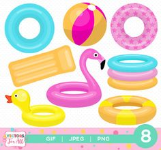 Pool Toys ClipArts GIF Files Decoration Flamingo Duck Summer Rubber Ring