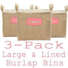 Burlap Storage Bins Bedroom Organization Bins by ColorStyleDesign