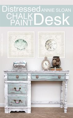 Beachy Annie Sloan Chalk Paint Desk. More Distressed Furniture Ideas for Coastal Style Living here: http://www.completely-coastal.com/2013/04/distressed-painted-furniture-for-coastal-beach-look.html