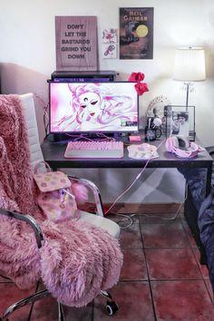 My lil pink Sailor Moon corner. I basically live here My lil pink Sailor Moon corner. I basically live here My New Room, My Room, Deco Gamer, Pink Games, Kawaii Bedroom, Gaming Room Setup, Pc Setup, Game Room Design, Gamer Room