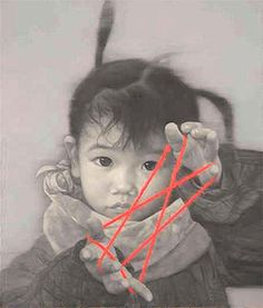 Hand Painted Cute Chinese Child Oil Painting :