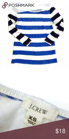 J. Crew   Blue, black and white horizontal stripe tee from J. Crew  Featires 3/4sleeves  Size XS  As always, all items are from a smoke-free and pet-free home  Thanks for shopping Reclaimed Treasure by Anna Jahns  J. Crew Tops Tees - Long Sleeve