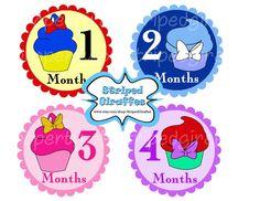 Girl Month Onesie Cupcakes Sticker Iron Transfer PIY  Princess Baby Shower Shirt Sweatshirt Birthday Little girl DIY Printable