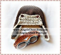 Ravelry: Crochet Aviator PILOT BOMBER Hat PDF Pattern Sizes Newborn to Adult Boutique Design - No. 34 by AngelsChest pattern by Mary Angel Morris