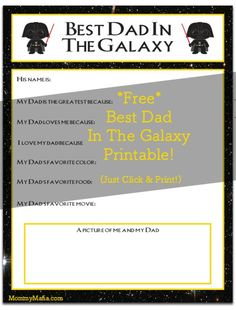 Let Dad know that he's the greatest father in the galaxy! Free Star Wars Father's Day printable. Little Jedi will make this a thoughtful keepsake that any Darth Vader Dad will cherish. My Darth Vader Dad http://MommyMafia.com