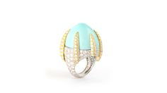 David Webb ring, turquoise, platinum, diamonds