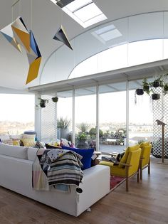 Designer origami-esque chandelier and view of the beach at The Cool House