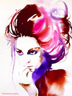 High Fashion Illustration Art Print of Original by KimberlyGodfrey