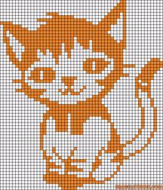 simple cat pattern cross stitch by on deviantART Tapestry Crochet Patterns, Crochet Cat Pattern, Crochet Cross, Crochet Chart, Crochet Stitches, Cross Stitching, Cross Stitch Embroidery, Embroidery Patterns, Knitting Charts