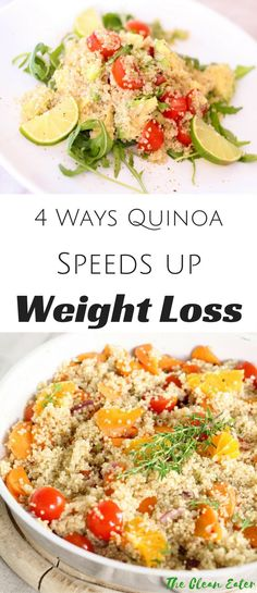 Quinoa offers various health benefits and weight loss is one of them! Learn how quinoa can speed up your weight loss process! Weight Loss Meals, Fast Weight Loss, Healthy Weight Loss, Clean Eating Diet, Clean Eating Recipes, Healthy Recipes, Healthy Dinners, Healthy Food, Salad Recipes
