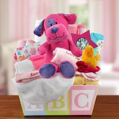 Give a proper welcome home to the new baby girl! This adorable multi-colored ABC…