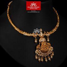 Buy Necklaces Online   Gajalakshmi Kanti in Lite wt from Kameswari Jewellers Gold Wedding Jewelry, Bridal Jewelry, Gold Jewelry, Gold Necklace, Fancy Jewellery, Gold Jewellery Design, Gold Hair Accessories, Necklace Online, Jewels