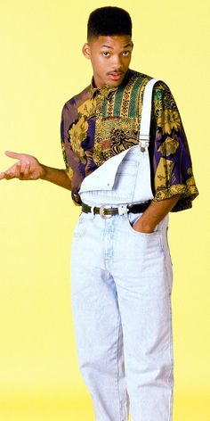 """He can still rock a fresh pair of overalls and printed shirt. Will Smith as Will """"The Fresh Prince"""" Smith Fashion Guys, Hip Hop Fashion, Trendy Fashion, Fashion Outfits, Fashion Trends, 1990s Mens Fashion, Black 80s Fashion, Celebrities Fashion, Fashion Vintage"""