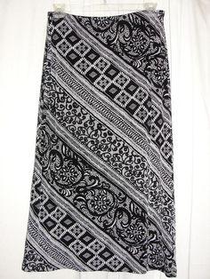 MIRASOL Black White Geometric Pattern Travelers Knit Skirt Elastic Waist Sz XL #Mirasol #StraightPencil