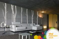 Interior Living Room Design Wall Stickers - Birch Tree Forest Wall stickers- This Room designs are created by vinly impression from Uk. Birch tree forest room design is filled with trees in the wall around the house. The tree stretch from floor to ceiling in living room, bedrooms and kitchens. These wall stickers are really popular in interior designs. Here you can see some of the good Living room designs for inspiration. You can purchase these designs from www.vinylimpression.co.uk