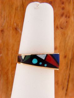Authentic inlaid ring 14kt gold ladies multi stone inlaid ring
