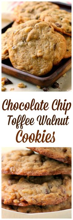 Chocolate Chip Toffee Walnut Cookies recipe makes 20 big, soft chewy cookies!