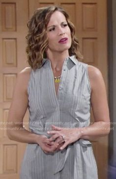 Chelsea's sleeveless shirtdress on The Young and the Restless.  Outfit Details: https://wornontv.net/57899/ #TheYoungandtheRestless