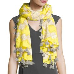 San Diego Hat Company Woven Pineapple Tassel Scarf ($39) ❤ liked on Polyvore featuring accessories, scarves, yellow, woven scarves, yellow scarves, cotton scarves, braided scarves and tassel scarves