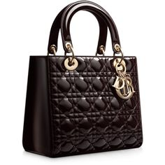 """LADY DIOR Black and white tweed """"Lady Dior"""" bag ❤ liked on Polyvore"""