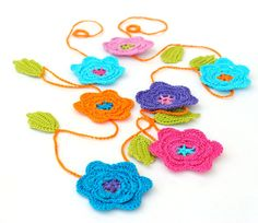 Party Decor Floral Crochet Garland.