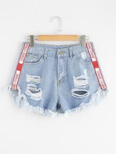 204dedfdf0b ROMWE offers Frayed Hem Ripped Denim Shorts   more to fit your fashionable  needs.