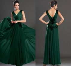 Dark Green Chiffon Evening Dresses Prom Dresses Long US 0 2 4 6 8 10 12 Cheap #sunvary #Alinie #Formal