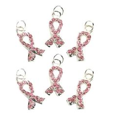 Pink Ribbon Rhinestone Charms Breast Cancer by HeartsOfCreation, $6.00