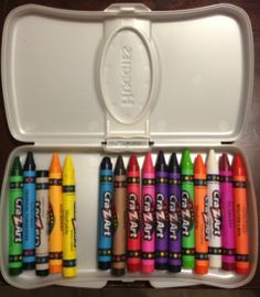 Store crayons for the diaper bag in the travel wipe containers - great reuse idea!