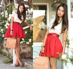 1. Skirt, Romwe   2. Pumps, Steve Madden   3. Bag, Asos   4. Top, Marc by Marc Jacobs