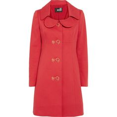 Love Moschino Textured cotton-blend coat ($300) ❤ liked on Polyvore featuring outerwear, coats, jackets, casacos, collar coat, red coat, love moschino, love moschino coat and fitted coat