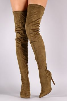 Liliana Suede Over The Knee Pointy Toe Boots