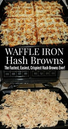 The fastest way to cook hash browns is in a waffle maker. Here is how to make hash browns in a waffle maker using shredded potatoes. Use this homemade hash browns recipe to make crispy hash brown waffles. Cook a large batch of waffle iron hash browns to f Hashbrown Waffles, Potato Waffles, Breakfast Dishes, Best Breakfast, Breakfast Recipes, Breakfast Potatoes, Breakfast Hash, Healthy Recipes, Waffles