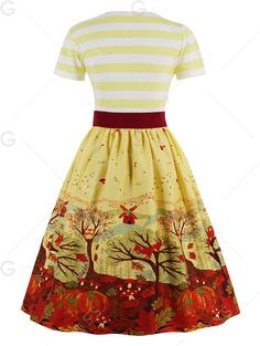 V Neck Fit and Flare Printed Vintage Dress - YELLOW 2XL