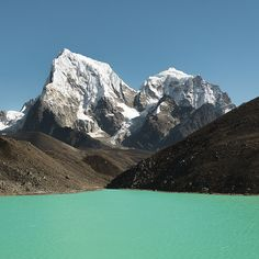 The Gokyo Lakes in the Khumbu region of Nepal sit in the high altitudes of the Himalayas, varying from 4,700-5,000 metres above sea level