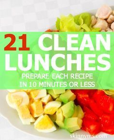 Save time during the week with these simple recipes. Clean Lunches Prepared in Under 10 Minutes. I might possibly need to lighten up some of these for my Shrinking On a Budget Meal Plan, but I am always looking for healthy lunch ideas I can tweak.