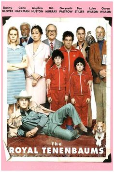 A great Royal Tenenbaums family portrait poster from Wes Anderson's 2001 film starring Gene Hackman, Ben Stiller, Gwyneth Paltrow, Bill Murray, Anjelica Huston, and Owen and Luke Wilson! Ships fast. 1