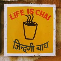 'Life is chai' #custommade for my friend Lies. First round of #handpainted #metal #signboards  from #jaipur #india in 2009. #cute #tea #cup #chai #life #hindi #sanskrit #customizeyourworld #cyw