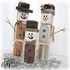 Paint Stick Snow Men (tops of paint sticks)